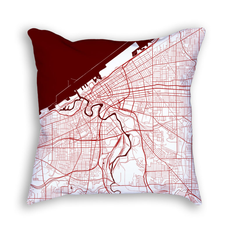Cleveland Ohio City Map Art Decorative Throw Pillow