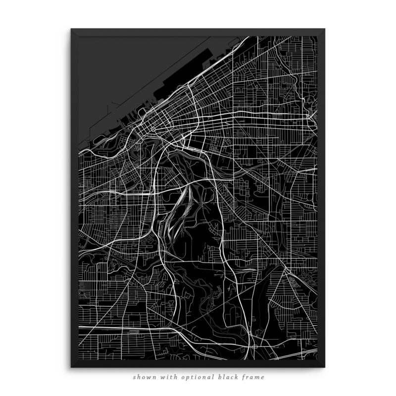 Cleveland OH City Street Map Black Poster