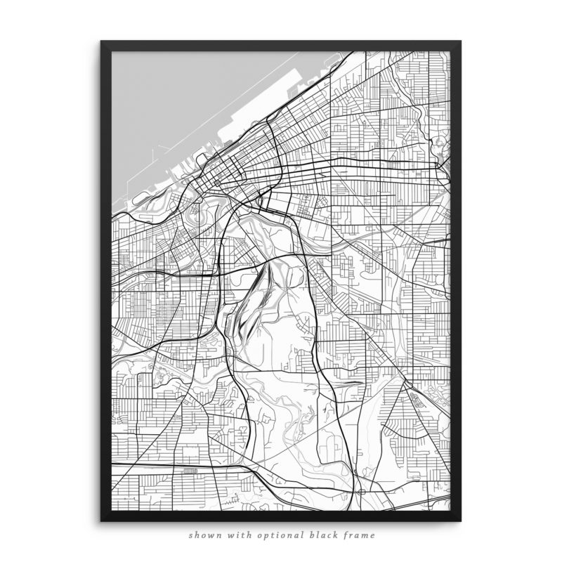 Cleveland OH City Street Map White Poster