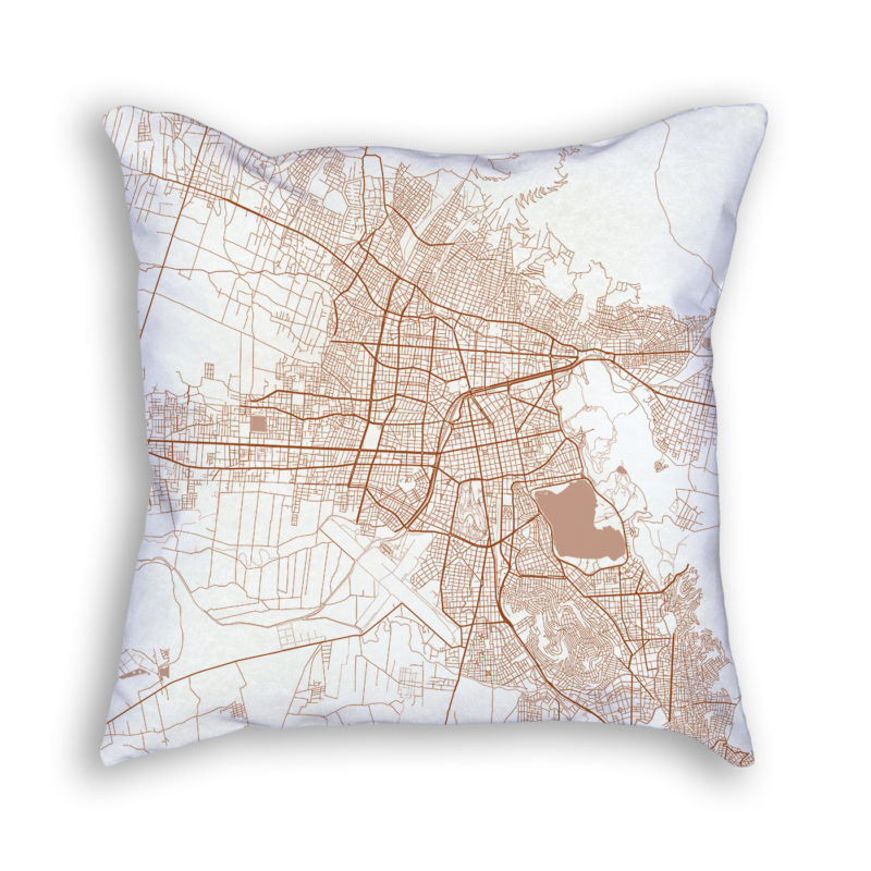 Cochabamba Bolivia City Map Art Decorative Throw Pillow