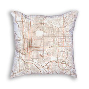 Colorado Springs City Map Art Decorative Throw Pillow