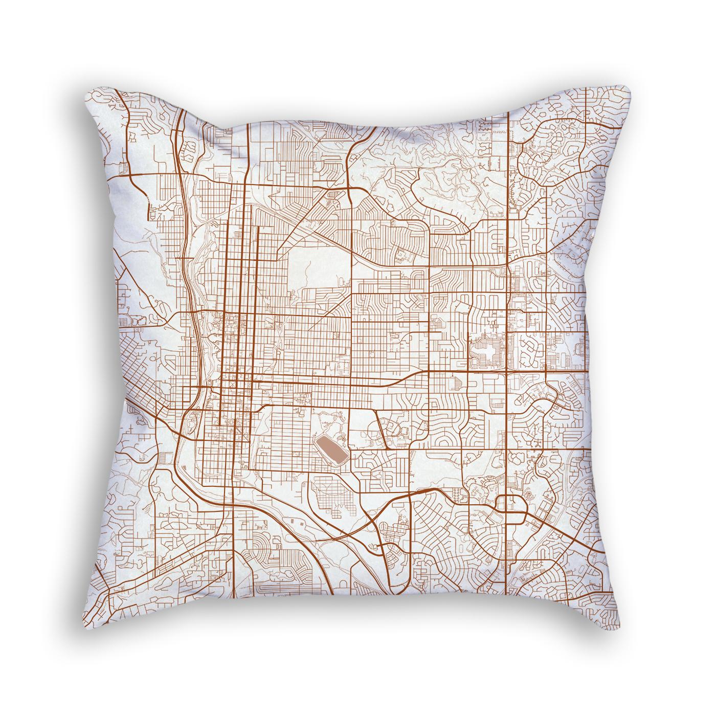 Colorado Springs City Map Art Decorative Throw Pillow