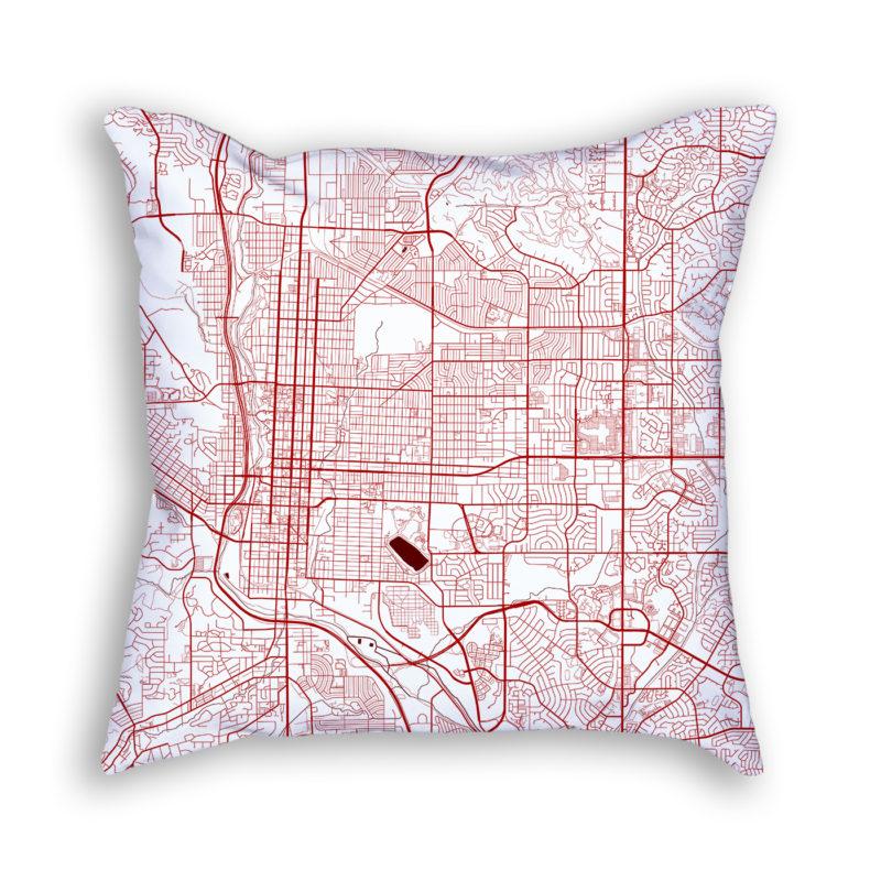 Colorado Springs Colorado City Map Art Decorative Throw Pillow