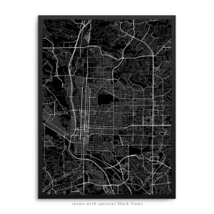 Colorado Springs CO City Street Map Black Poster