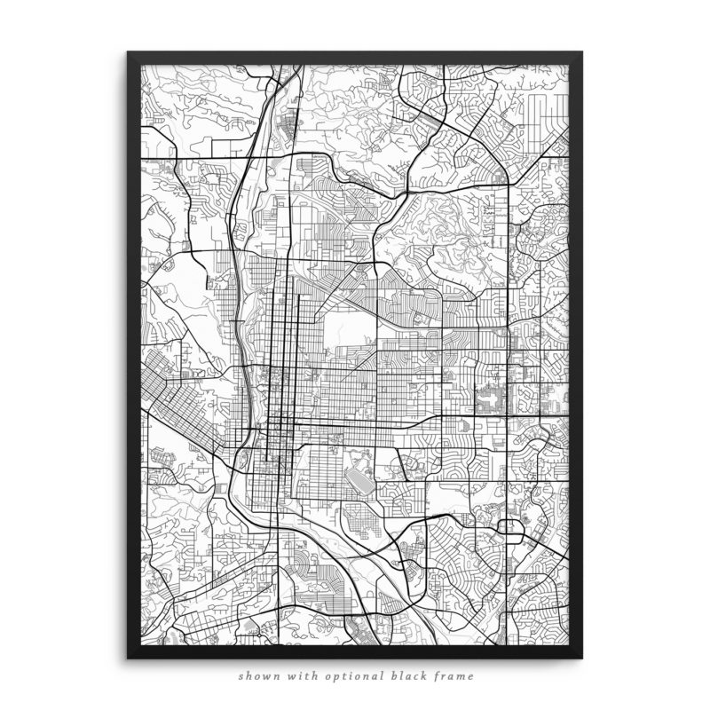 Colorado Springs CO City Street Map White Poster