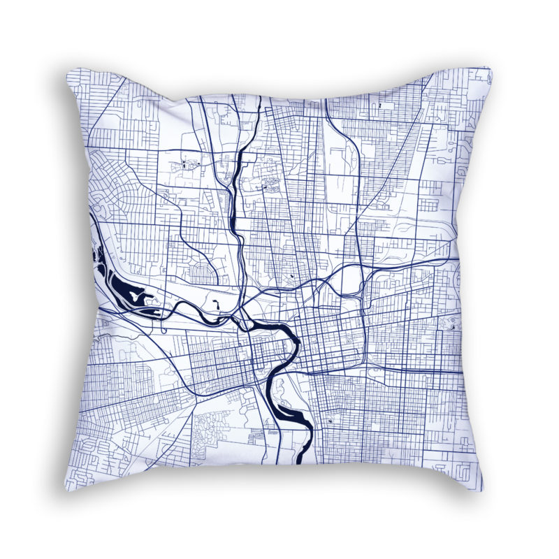 Columbus Ohio City Map Art Decorative Throw Pillow