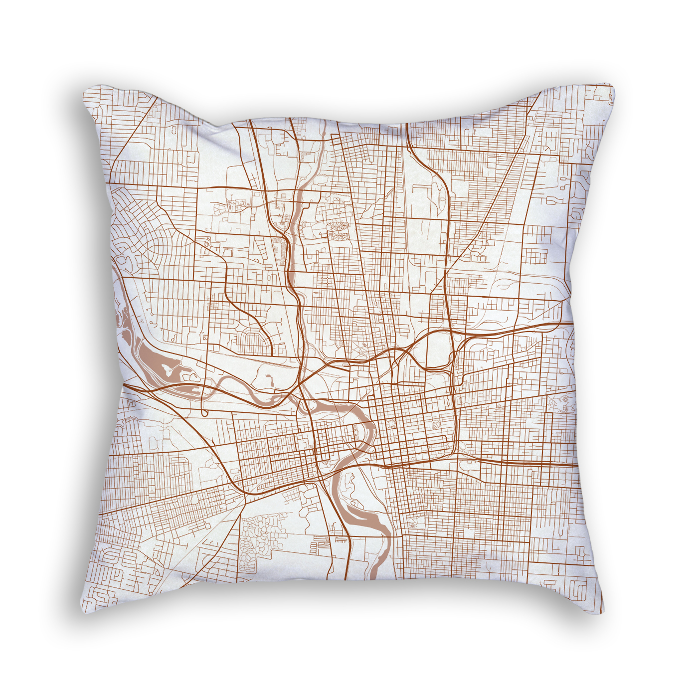 Columbus OH City Map Art Decorative Throw Pillow