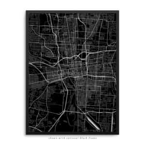 Columbus OH City Street Map Black Poster