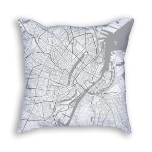 Copenhagen Denmark City Map Art Decorative Throw Pillow