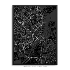 Copenhagen Denmark City Street Map Black Poster
