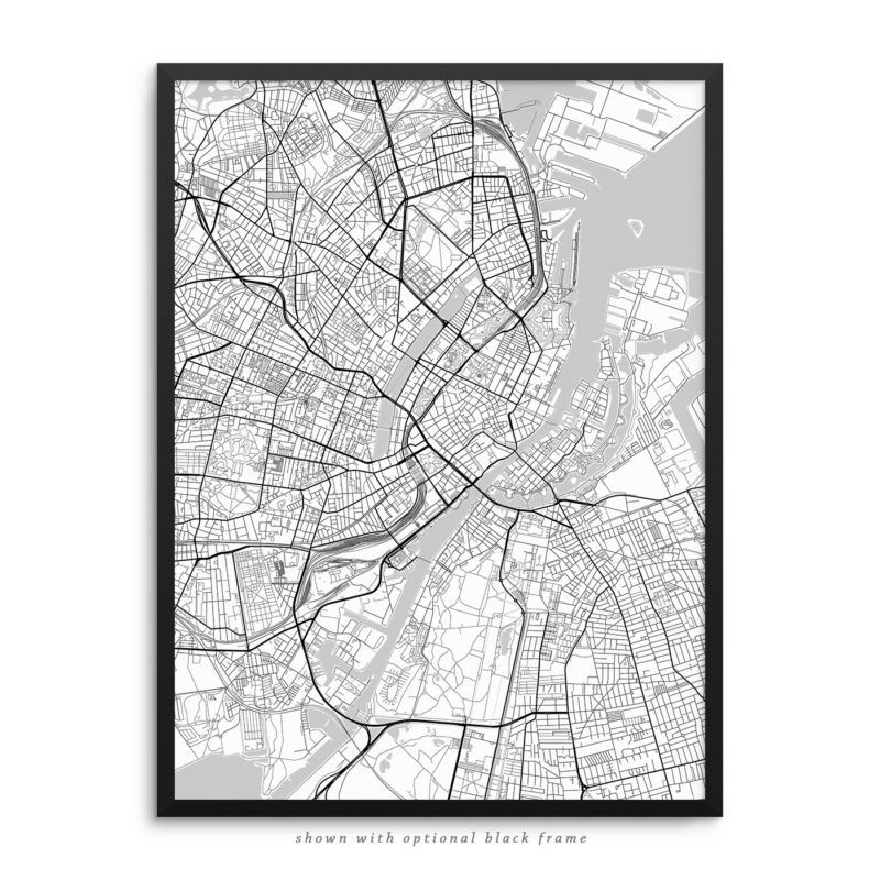 Copenhagen Denmark City Street Map White Poster
