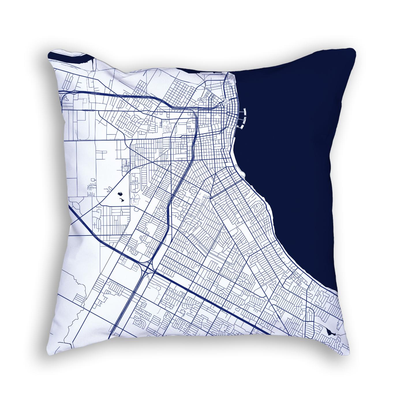 Corpus Christi Texas Throw Pillow – City Map Decor on