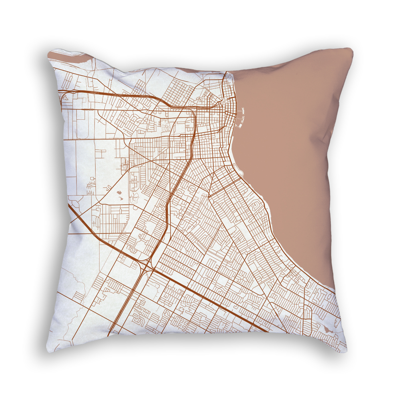 Corpus Christi TX City Map Art Decorative Throw Pillow