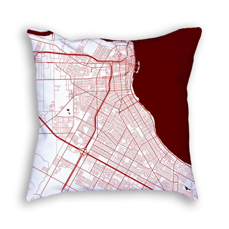 Corpus Christi Texas City Map Art Decorative Throw Pillow
