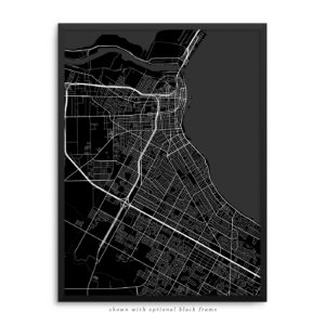 Corpus Christi TX City Street Map Black Poster