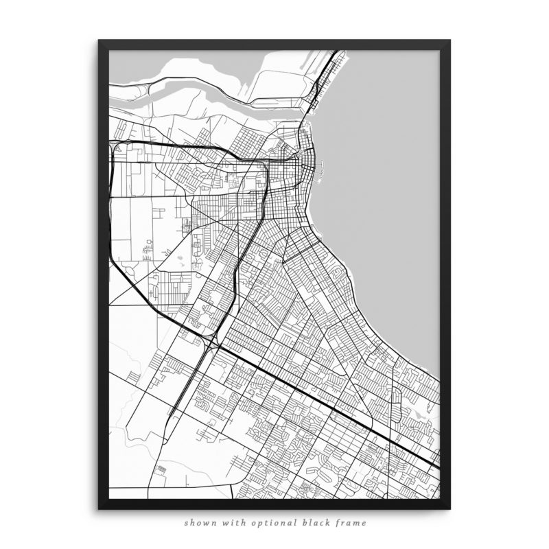 Corpus Christi TX City Street Map White Poster