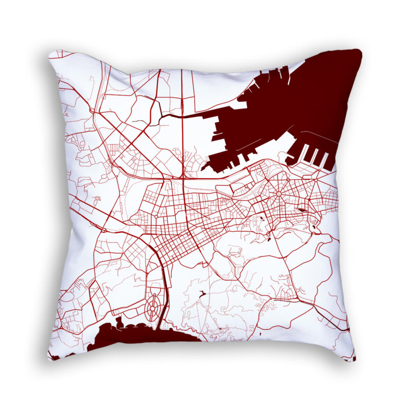 Dalian China City Map Art Decorative Throw Pillow