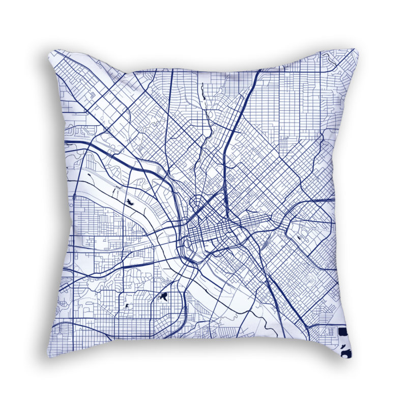 Dallas Texas City Map Art Decorative Throw Pillow
