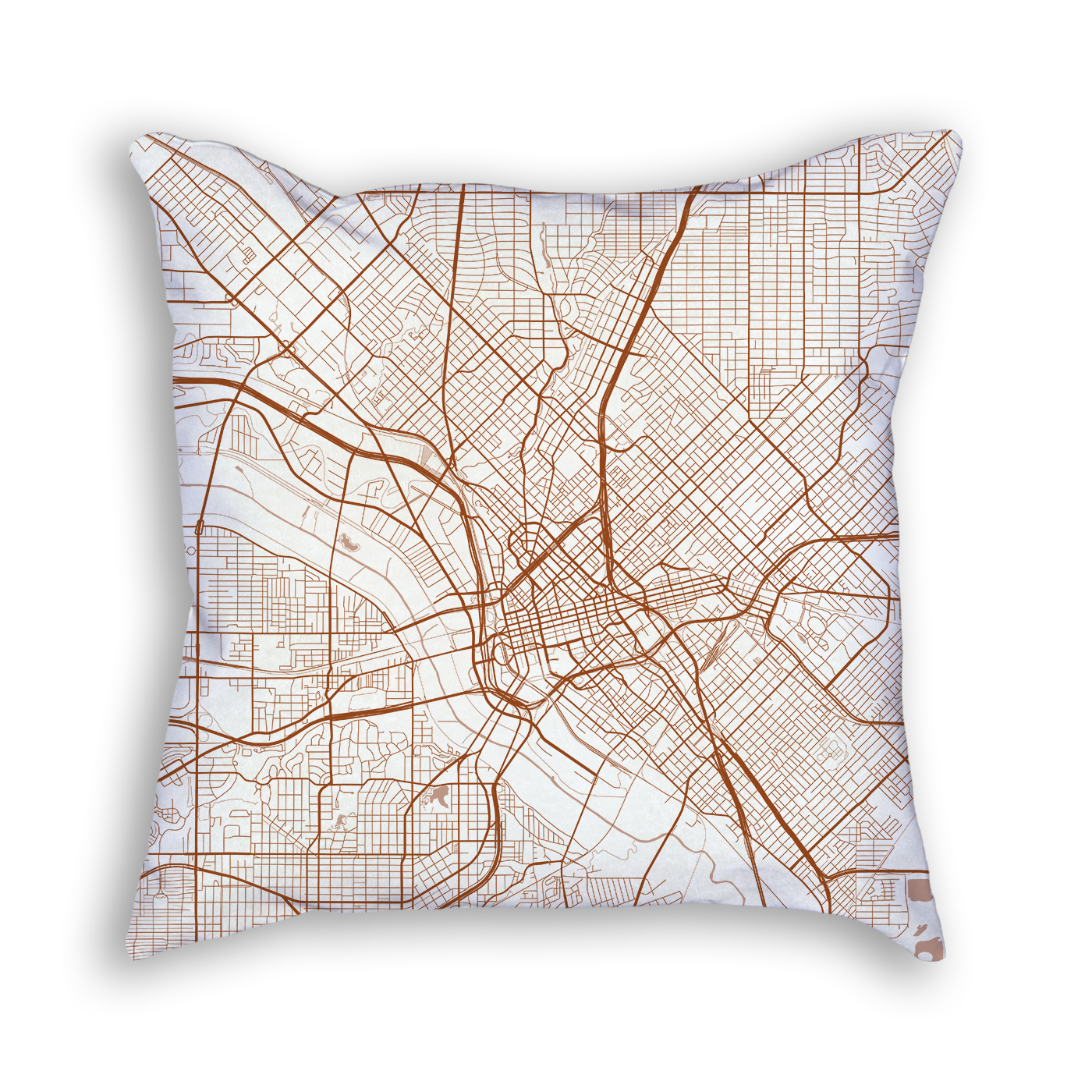 Dallas TX City Map Art Decorative Throw Pillow