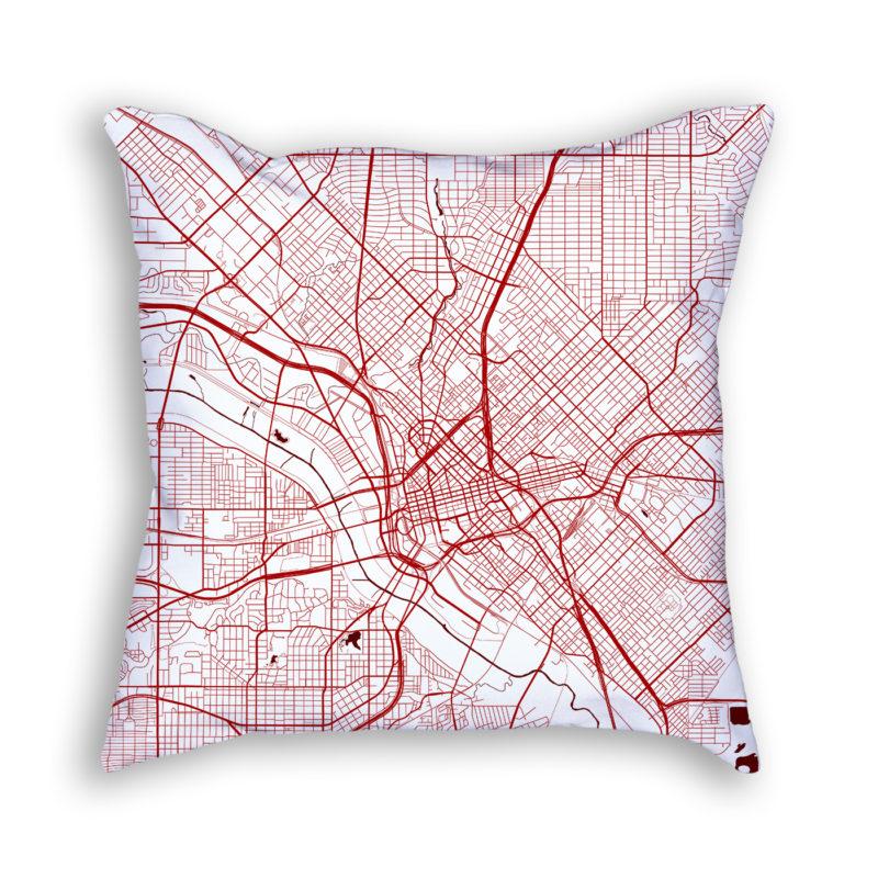 Dallas Texas City Map Art Decorative Throw Pillow