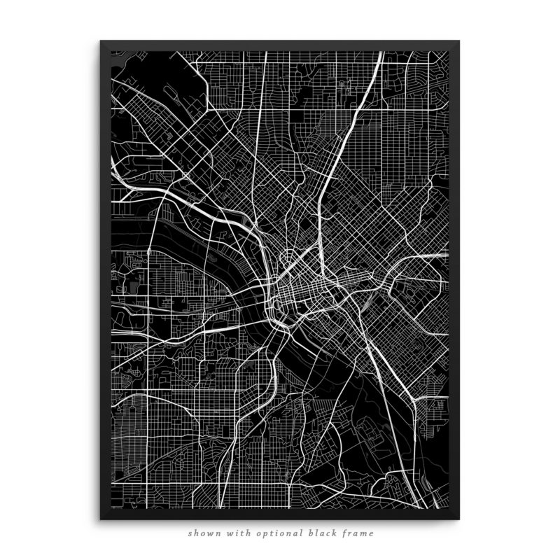 Dallas TX City Street Map Black Poster