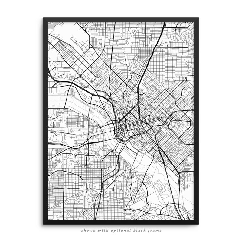 Dallas TX City Street Map White Poster