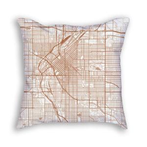 Denver Colorado City Map Art Decorative Throw Pillow