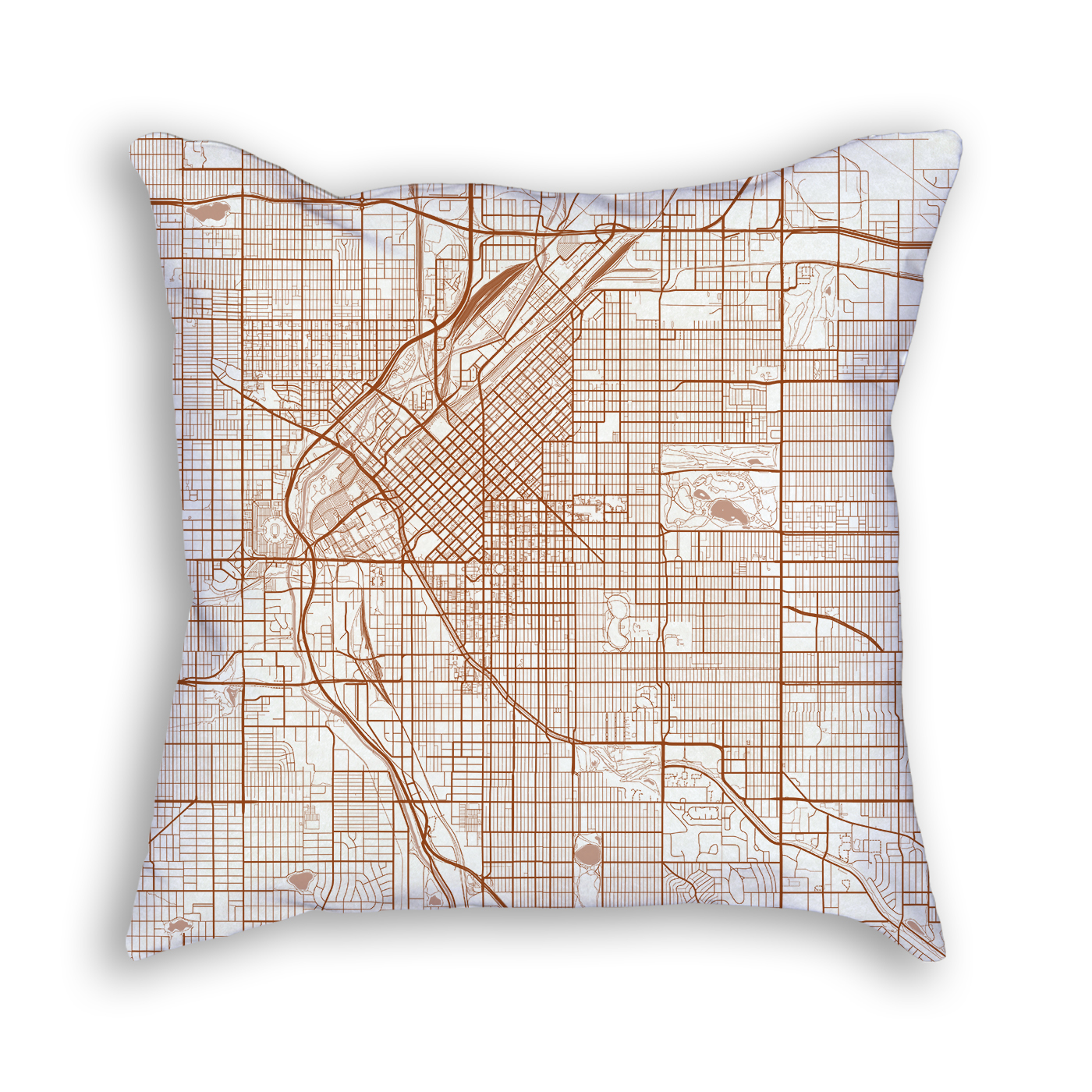 Denver Colorado City Map Art Decorative Throw Pillow