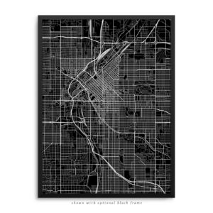 Denver CO City Street Map Black Poster