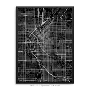 Denver CO City Street Map Black Poster