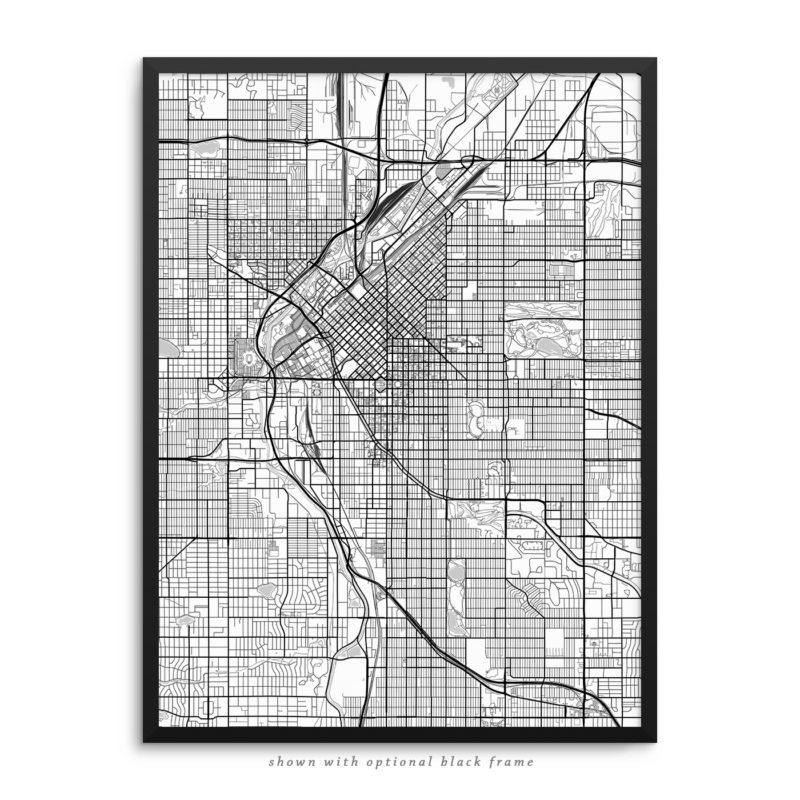 Denver CO City Street Map White Poster