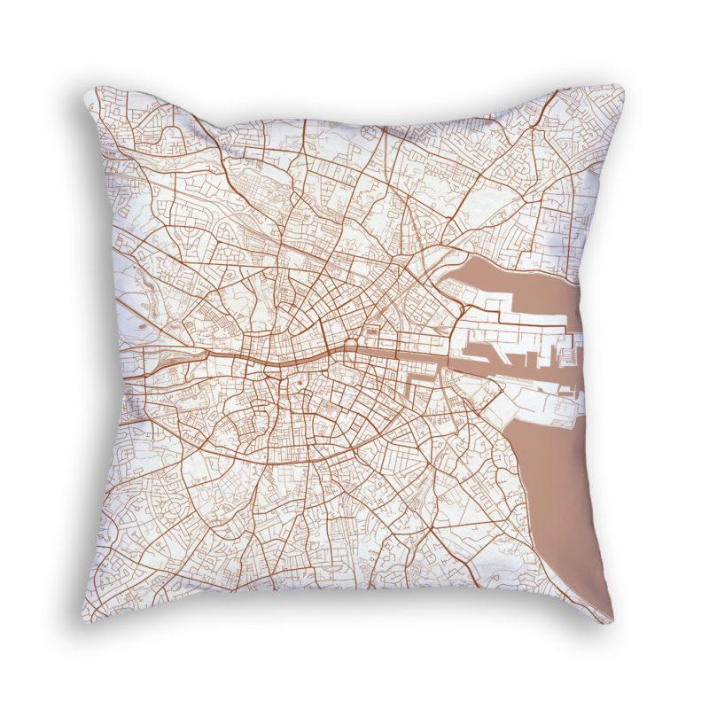 Dublin Ireland City Map Art Decorative Throw Pillow