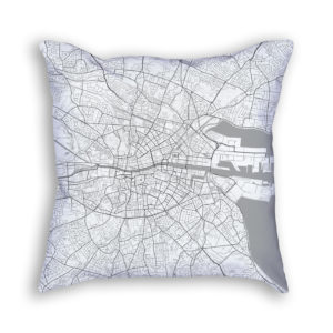 Dublin Ireland City Map Art Decorative Throw Pillow