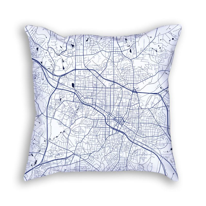 Durham North Carolina City Map Art Decorative Throw Pillow