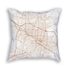 Durham NC City Map Art Decorative Throw Pillow