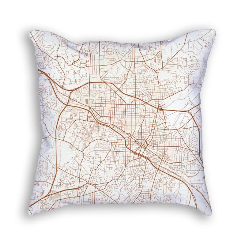Durham NC City Map Art Decorative Throw Pillow