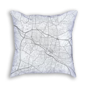 Durham North Carolina City Map Art Decorative Throw Pillow