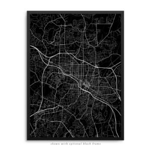 Durham NC City Street Map Black Poster