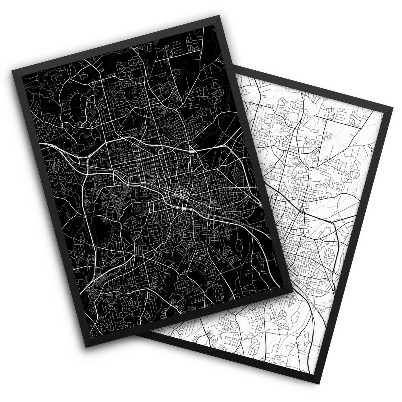 Durham NC City Map Decor