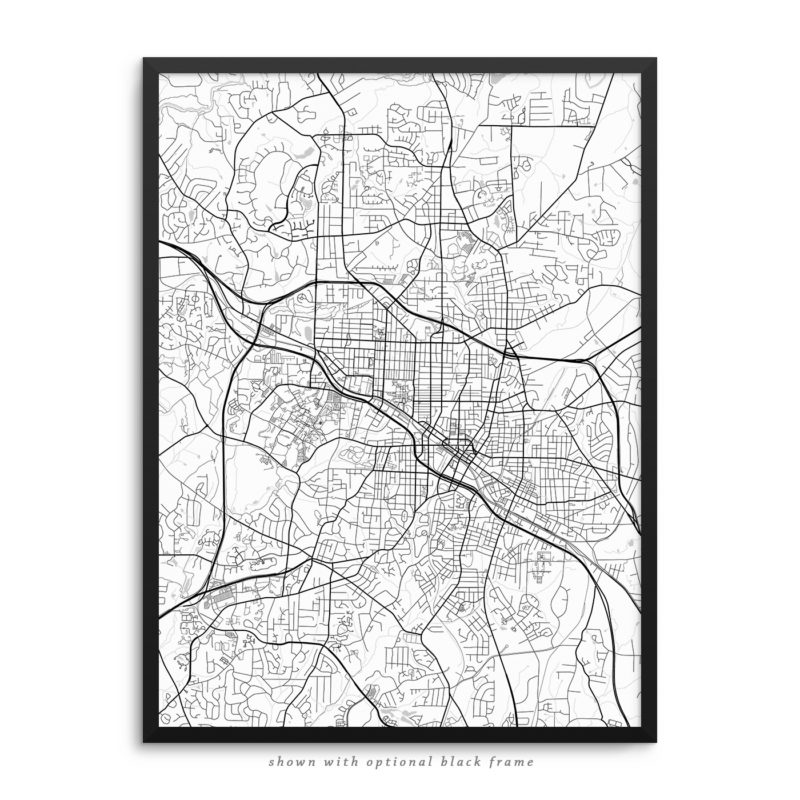 Durham NC City Street Map White Poster