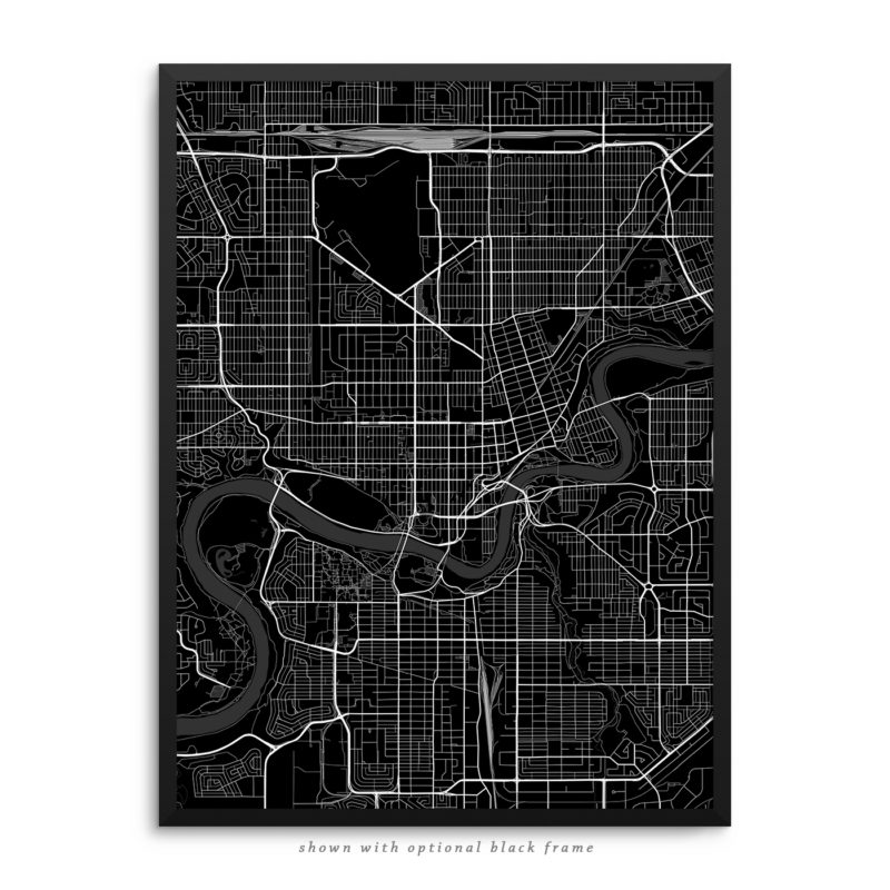 Edmonton Canada City Street Map Black Poster
