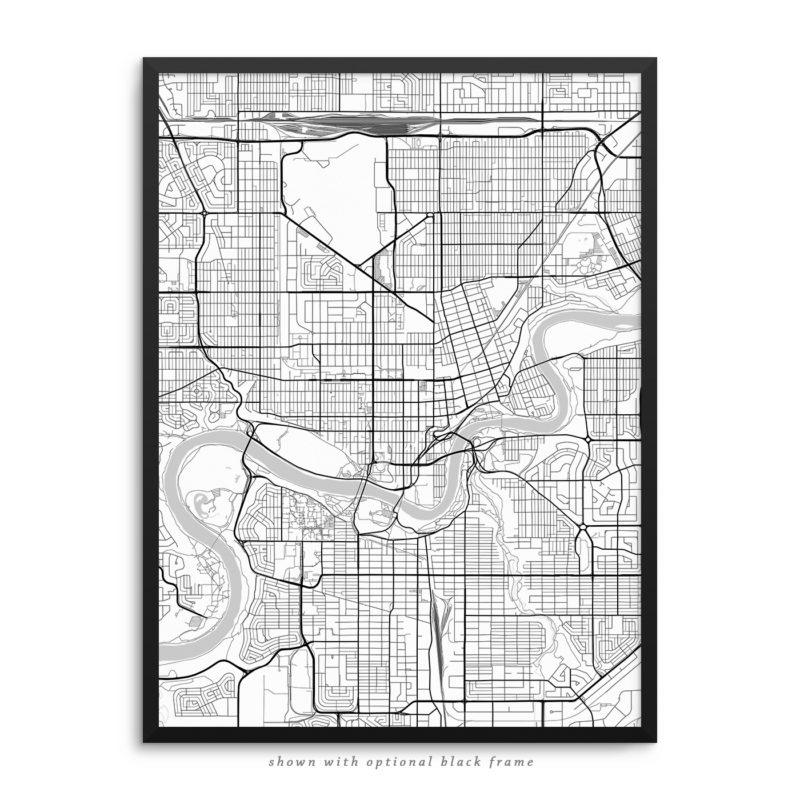 Edmonton Canada City Street Map White Poster