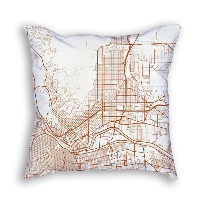 El Paso TX City Map Art Decorative Throw Pillow