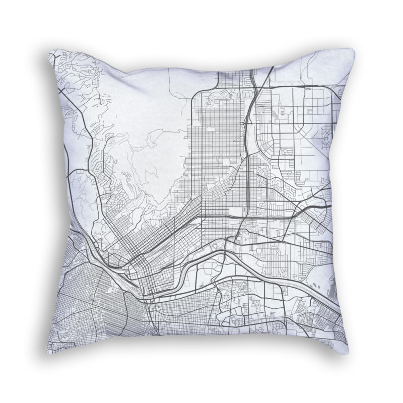 El Paso Texas City Map Art Decorative Throw Pillow