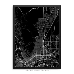 El Paso TX City Street Map Black Poster