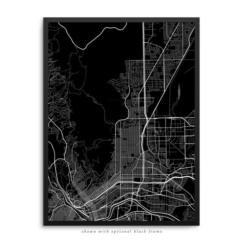 El Paso TX City Street Map Black Poster