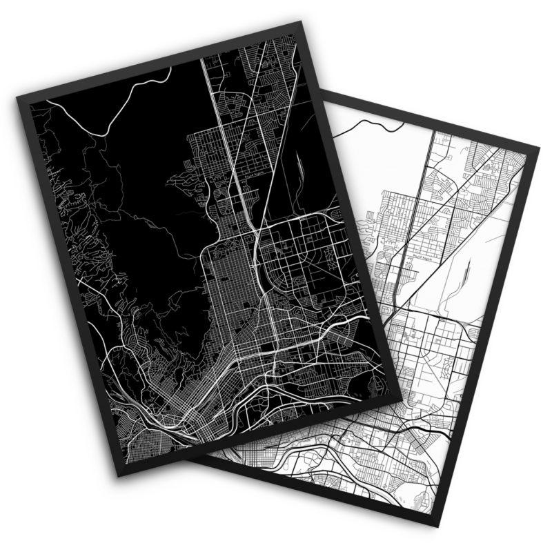 El Paso TX City Map Decor
