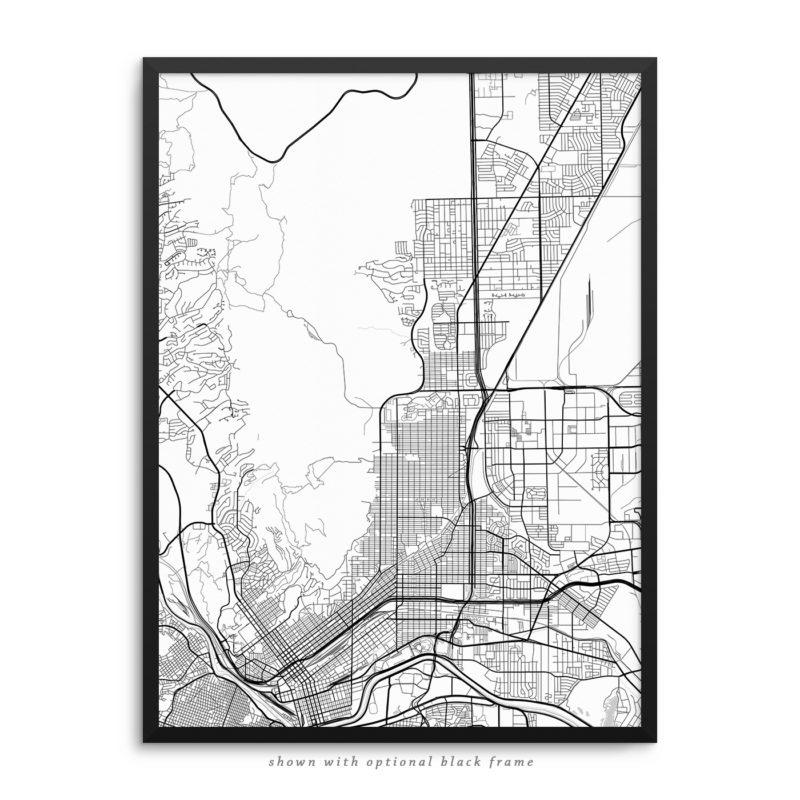 El Paso TX City Street Map White Poster
