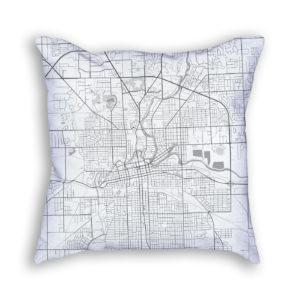 Fort Wayne Indiana City Map Art Decorative Throw Pillow