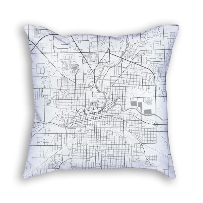 Fort Wayne Indiana City Map Art Decorative Throw Pillow